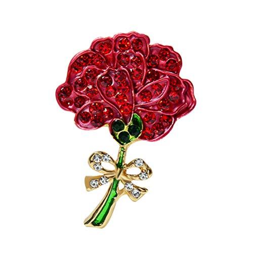 Amosfun Nelke Strass Broschen Pin Brust Pin Schmuck Zubehör Geschenk für Muttertag (x2194) (rot)