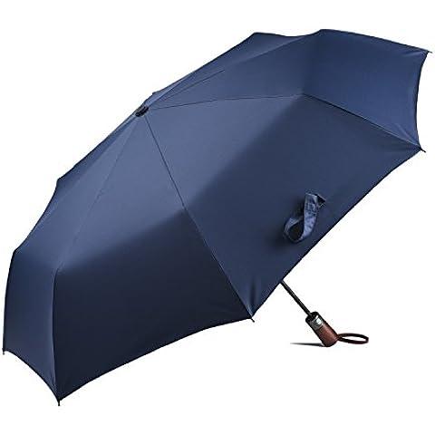 someetpro Auto Abrir Cerrar Plegable Compacto De Viaje Lluvia Viento–Paraguas con mango de madera para hombres y mujeres–Garantía de por vida