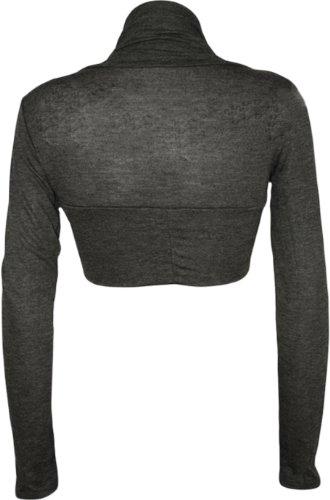 WearAll - Damen bolero strecken Top - 14 farben - Größe 36-42 Dunkelgrau