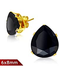 6x8mm Gold Color Plated Stainless Steel Pair of Stud Earrings with Pear Shaped/ Teardrop Jet Black Cubic Zirconia - K596