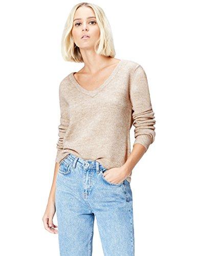 FIND Jersey con Detalle a la Espalda para Mujer, Beige (Fawn), 36 (Talla del Fabricante: X-Small)