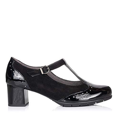 PITILLOS 5751 Zapato Tira Vestir Tacon Medio Mujer Negro 40