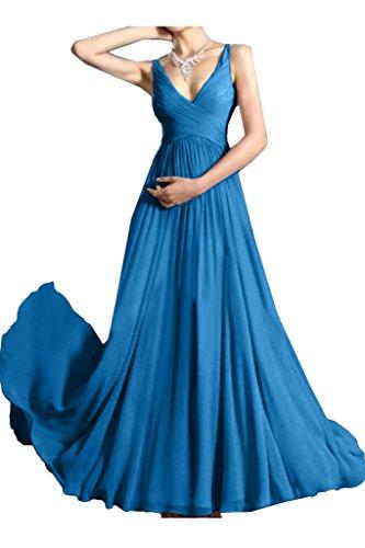 Ivydressing Damen Einfach V-Ausschnitt A-Linie Traeger Partykleid Promkleid Festkleid Abendkleid Blau