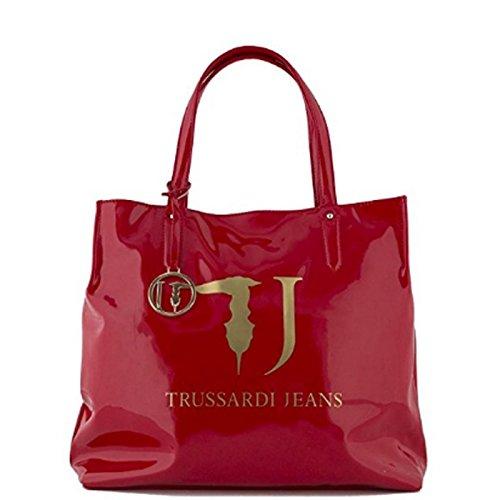 TRUSSARDI JEANS BORSA SHOPPING BAG IN VERNICE COLLEZIONE 2016 (Rossa)