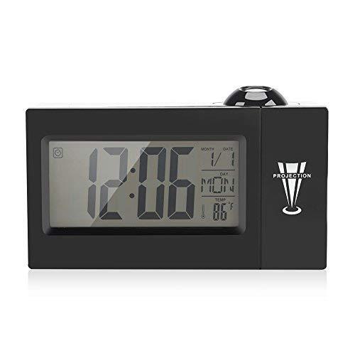 Projektion Uhr Digital Dimmbar Wecker mit Radio Auto Time Set Nap/Sleep Timer Innentemperatur Tag/Datumsanzeige Schwarz  (Radio-sendungen)