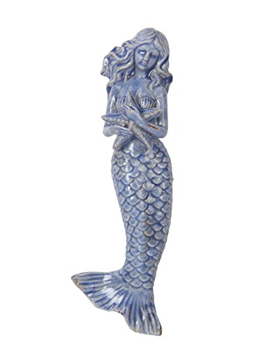 18 1/2 inch alto antico blu ceramica Mermaid W/conch Shell Wall Hanging