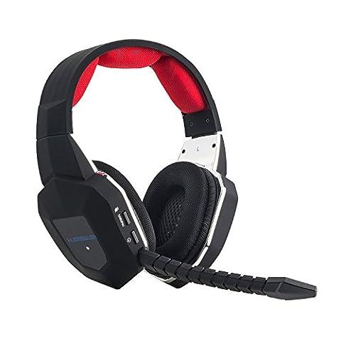 [2.4Ghz Casque Sans Fil] EasySMX Console Micro-Casque Gamer Stereo sans fil Headset avec Mic Microphone pour Xbox 360/Xbox One/PS4/PS3/PC Skype/Chat(Noir+Rouge)