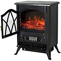 HOMCOM Free Standing Electric Fireplace with Fan and Log Burning Flame Effect 1800W / 900W (Black)