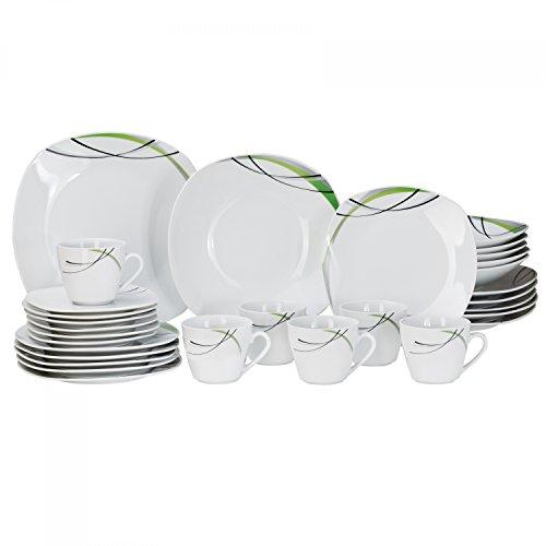 Kombiservice Donna 30tlg. - weißes Porzellan mit Linien- Dekor in schwarz, grau und grün - für 6...