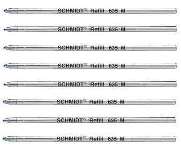 8 x Schmidt 635M Mini-Kugelschreibermine - Blau - (Lamy M21 und Cross 8518-4 Compatible)