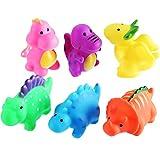Blulu Badewanne Spielzeug Dinosaurier Baby Badespielzeug Kleine Dinosaurier Badewanne Schweben und Quietschen Spielzeug für Jungen und Mädchen, 6 Stücke