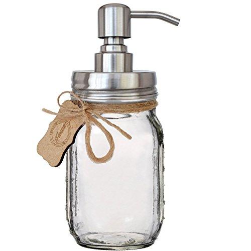 Premium rostbeständig 30418/8Edelstahl Mason Jar Seife Pumpe/Lotion-Spender-Kit von Premium Home Qualität-inkl. 16Oz (Regular Mund) Glas Mason Jar Edelstahl gebürstet (Mason Dispenser Jar Deckel Lotion)