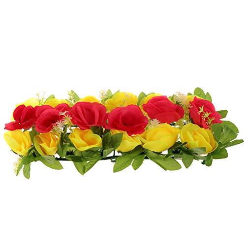 P Prettyia Seiden Rosen Blumenwand Blumen Hintergrund Deko Blumen für Grab und Wohnkultur, ca. 50 x 24 x 10 cm - Gelb und Rosa (Seide Blumen Rosen Gelb)