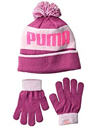 8ae786da20d Puma Women s Kids  Evercat Block Cuff Pom Youth Beanie and Glove Set Cold  Weather Hat
