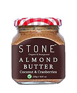 Stone Gourmet Keto Vegan Organic All Natural Almond Butter(Badam) with Coconut & Cranberries (Stone Ground)-250 G