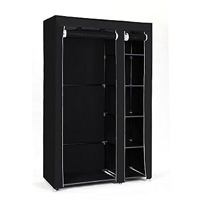 Songmics Double Canvas Wardrobe Cupboard Clothes Hanging Rail Storage Shelves 175 x 110 x 45 cm - cheap UK light shop.