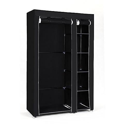 Songmics Armoire de rangement/Penderie de vêtement pliable en toile couleurs noir XL 110 x 45 x 175 cm LSF007