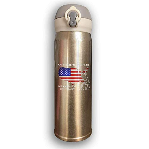 Bestqe Vakuumisolierte Trinkflasche,Wasserflasche,Thermosflasche, We Stand for The Flag We Kneel for The Fallen Stainless Steel Mug 17 OZ Double Walled Vacuum Insulated Water Bottles - Flags Fallen