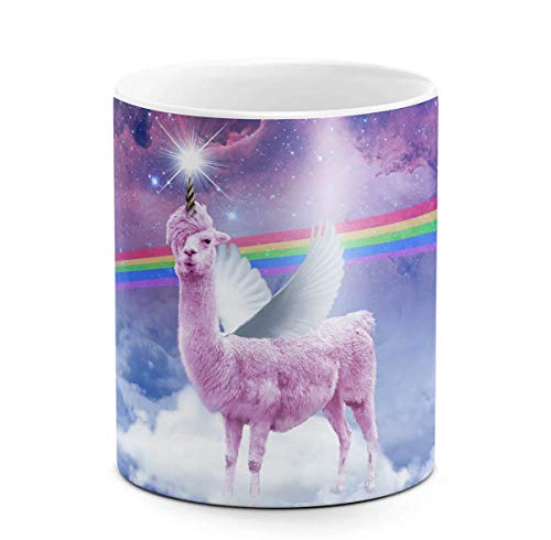 DODOX Kaffee-und Tee Tasse aus Keramik, 325 ml Unicorn Angel Llama Above Clouds Stars Space Galaxy Rainbow, weiß, Geburtstag, einzigartige Geschenkidee, lustiges (Angeln Tee-tasse)