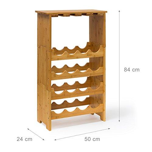 Weinregal Bambusregal für 16 Flaschen und 12 Gläser - 4