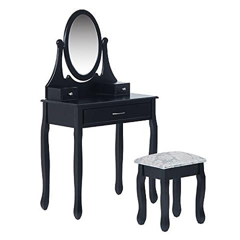Coiffeuse table/commode de maquillage avec miroir et 3 tiroirs tabouret bois massif 80L x 40l x 140Hcm noir neuf 99