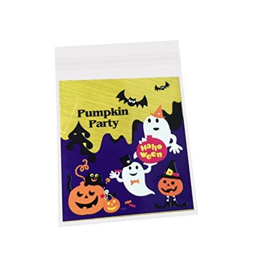 Tinksky Halloween-Süßigkeit-Biskuit-Beutel Selbstklebendes Plätzchen-Cellophan-Beutel für Nahrungsmittelpaket 10pcs (roter Kürbis gedruckt) (Halloween Cellophan)