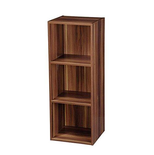 2, 3, 4Etagen Holz Leiter Bücherregal Lagerung Organizer Regal Display Einheit weiß/Eiche/Nussbaum 3 Ablagefächer walnuss -