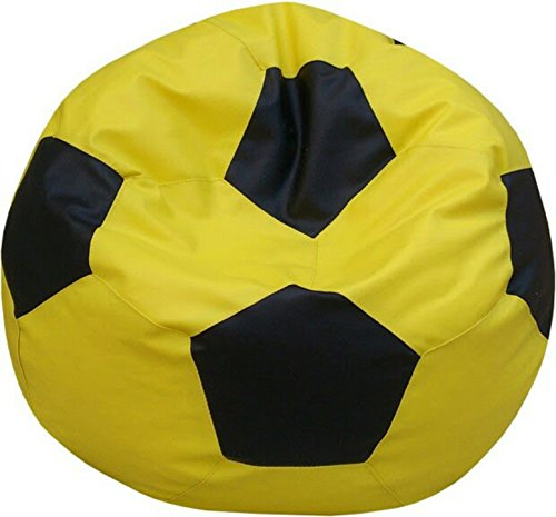 Sultaan Rexine Leather Yellow & Black Football Bean Bag Cover Without Filler  available at amazon for Rs.499
