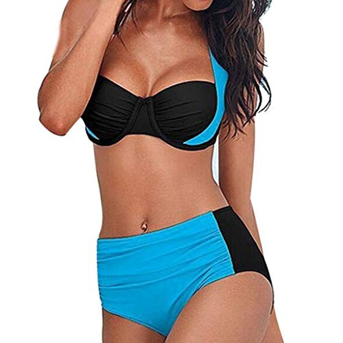 OIKAY Damen hohe Taille gepolstert Push-Up Bikini Set für mollige Bügel Push up Striped Badebekleidung Bikini Oberteil Punkte Pink Miss Zebra