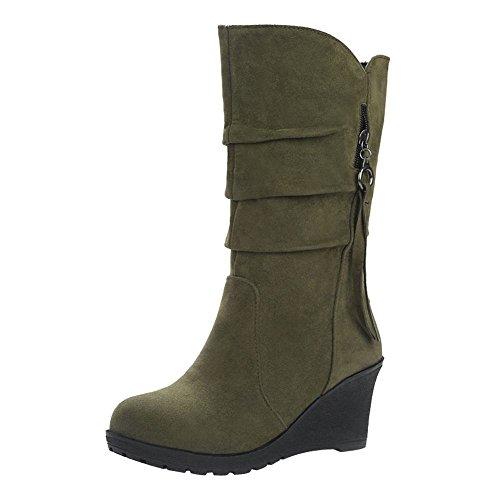 Mee Shoes Damen Keilabsatz halbschaft runde Nubukleder Stiefel Grün
