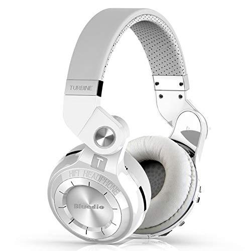 Bluedio T2s Bluetooth cuffie sull'orecchio con le cuffie Mic 57 millimetri driver Rotary pieghevole Wireless Headset? (Bianco)