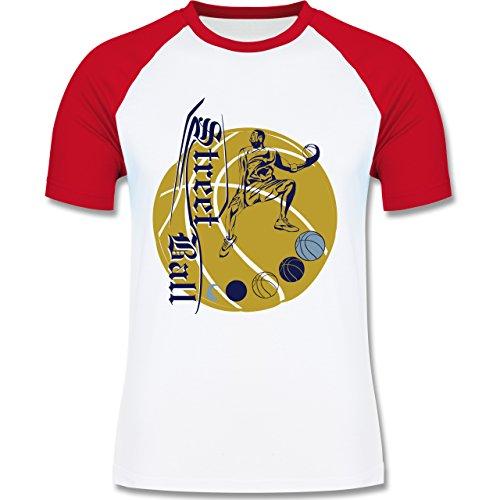 Basketball - Basketball - zweifarbiges Baseballshirt für Männer Weiß/Rot
