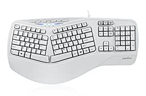Perixx PERIBOARD-512IIW, Ergonomic Split Keyboard - Updated Version - USB - Natural Ergonomic Design - Recommended with Repetitive Strain Injuries RSI User - White - US English Layout
