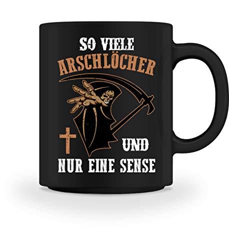 Arschloch Kostüm - PlimPlom So Viele Arschlöcher Und Nur Eine Sense Kaffeetasse - Ich Hasse Menschen Sensenmann - Tasse -M-Schwarz