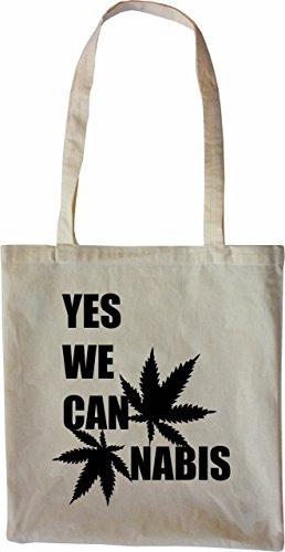 Mister Merchandise Tasche Yes we Cannabis Can Stofftasche , Farbe: Schwarz Natur