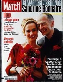 PARIS MATCH N° 2811 du 02-04-2003 LE MARIAGE PASSION DE SANDRINE BONNAIRE AVEC GUILLAUME - IRAK - JESSIE LA PRESONNIERE DU DESERT - LE 4EME SOSIE DE SADDAM - VIVRE AVEC LE DIABETE
