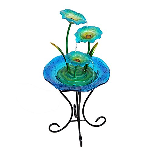 Wonderland 3 Blue Flower Glass & Metal Fountain with stand...