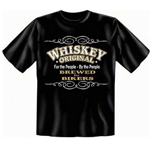 """geil bedrucktes Biker & Motorrad T-Shirt """" Whiskey - Brewed for Bikers ! """" Schwarz"""