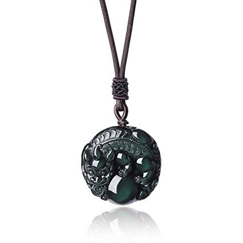 coai Geschenkideen Glückskette aus Obsidian mit Pixiu Gravur Pixiu-Anhänger Halskette für Damen und Herren