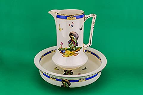 2 Spektakuläre Jahrgang BOWLS Keramik einzigartige blaue Pasta Art Deco Große Zahlen T Lawrence Dinner Table 1930 Englisch (Keramik Pasta Bowl)
