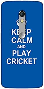 Snoogg Keep Calm And Play Cricket Designer Protective Back Case Cover For Motorola Moto X Play