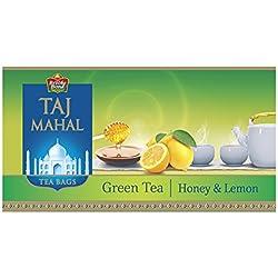 Taj Mahal Honey Lemon Green Tea Bags, 25 Pieces