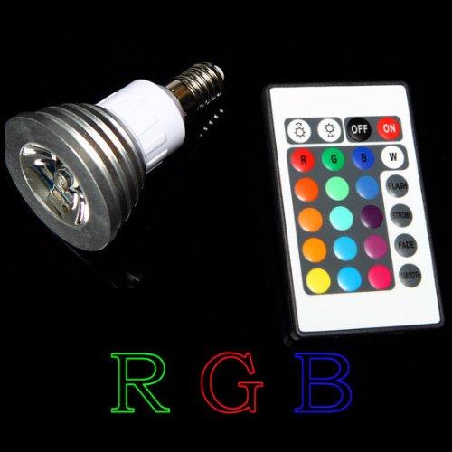 CAMBIO DE COLOR RGB LED E14BOMBILLA CON MANDO A DISTANCIA BOMBILLA FIESTA ILUMINACION