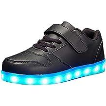 cb75b58344c Axcer Mixte Enfants LED Chaussures de Sport 7 Changement de Couleur USB  Rechargeable LED Lumineuse Clignotant