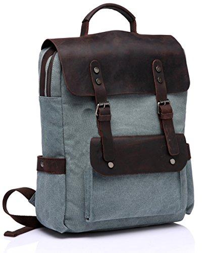 Leder Laptop Rucksack, Vaschy Unisex Junge Casual Segeltuch Schulrucksack für die Uni mit 15 Zoll Laptopfach Blass grün (An Der Mit Rückseite-leder-satchel Reißverschluss)