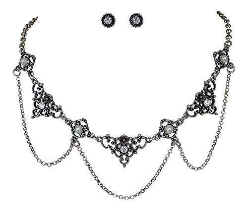 Trachtenschmuck Dirndl Collier Set – klassisch – Kette & Ohrstecker Crystal klar –...