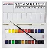 Sennelier Boîte de Peinture Aquarelle en Plastique, 24 Couleur et Pinceau,Made in France