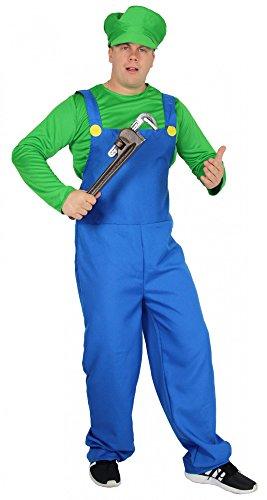 Foxxeo 40251 I Super Klempner Kostüm für Herren Comic Handwerker Klempner grün blau 80er Jahre Gr. M-XXL, Größe:L (Super Mario-halloween-kostüm)