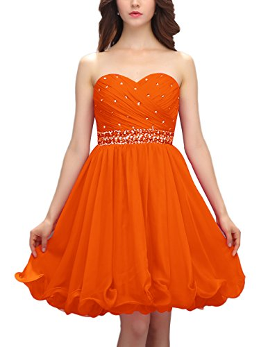 Dresstells Robe de soirée de cocktail Robe de demoiselle d'honneur mousseline bustier en cœur Orange