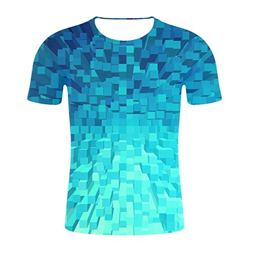 FRAUIT-Herren T-Shirts Kurzarmshirt 3D Drucken Rundhalsausschnitt Hohe Qualität Schulung Tops Sport Slim Bequem Shirt Geometrische Figur digitales Muster - V-neck Baumwolle T-shirts Drucken